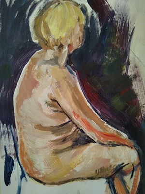 Seated female Nude Acrylic on paper